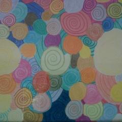Schneckenrosen, crayons, 2012